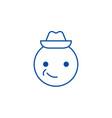 smiling emoji with hat emoji line icon concept vector image vector image