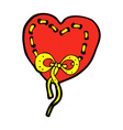 stitched heart comic cartoon vector image vector image
