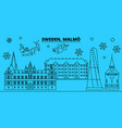 sweden malmo winter holidays skyline merry vector image vector image