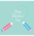 Two pencils drawing big dash heart Happy Valentine vector image vector image