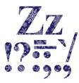 Uppercase and lowercase letters Z and signs vector image