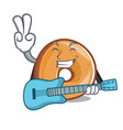 with guitar bagels mascot cartoon style vector image vector image