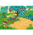 Wood with fruit trees vector image