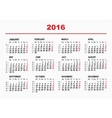 2016 Calendar template Horizontal weeks First vector image vector image
