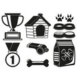 9 black and white dog care elements silhouette set vector image