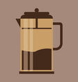 A brown jug with coffee in outlines over a brown b vector image vector image