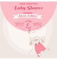 baby shower card - bunny with balloon