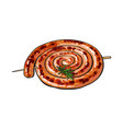 barbequed cumberland sausage rolled in coil vector image vector image