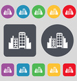 Buildings icon sign A set of 12 colored buttons vector image vector image