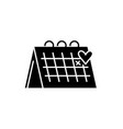 calendar black icon sign on isolated vector image