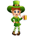 cartoon girl leprechaun holding a glass of beer vector image vector image