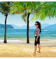 cartoon girl on the sandy beach with palm trees vector image vector image