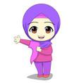 chibi muslim female cartoon characters daily vector image vector image