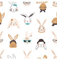 childish seamless pattern with funny bunny faces vector image