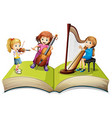 Children playing music on children book vector image vector image