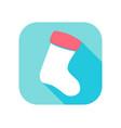 christmas sock flat icon with long shadow vector image vector image