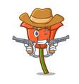 cowboy poppy flower character cartoon vector image