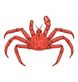 crab in engraving style design element for logo vector image
