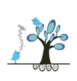 Cute blue birds on the love date vector image vector image
