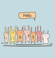 cute bunny say hello set vector image vector image