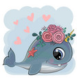 cute cartoon whale with flowers vector image vector image