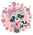 cute raccoon with a bow on a flowers background vector image vector image