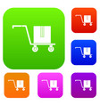 delivery cart with box set color collection vector image vector image