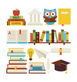Flat Style Collection of Books Education and vector image vector image