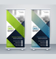 green and blue business rollup standee banner vector image vector image