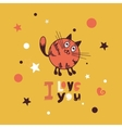 Greeting card with giraffe cat vector image vector image