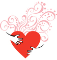 hands hugging heart vector image
