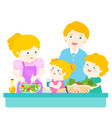 happy family cook healthy food together cartoon vector image