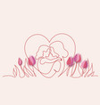 happy mother day card continuous one line drawing vector image vector image