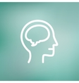 Human head with brain thin line icon vector image