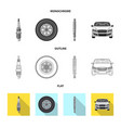 isolated object of auto and part symbol set of vector image