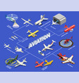 isometric airplanes helicopters flowchart vector image vector image