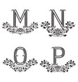 M n o p vintage monograms in floral wreaths