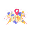 map in persons hand vector image