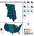 Map of Great Plains of the United States vector image vector image