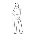 Model on a runway in designer outfit vector image vector image