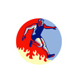 Obstacle Racing Jumping Fire Retro vector image vector image