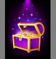 open purple chest with golden coins and jewelry vector image vector image