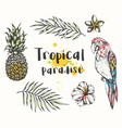 parrot and tropical plants vector image vector image