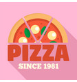 pizza since 1981 logo flat style vector image