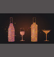set silhouettes wine glasses and bottles on vector image vector image