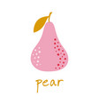 simple cartoon pear isolated on white background vector image vector image