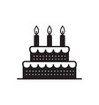 sweet cake for birthday holiday icon vector image vector image