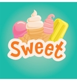 Sweet label with ice cream vector image vector image