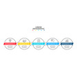 timeline with 5 circle linear connected elements vector image vector image
