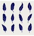 Ball pen feather sketch set vector image